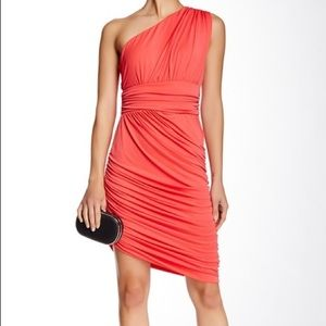 Halston Heritage ruched jersey cocktail dress
